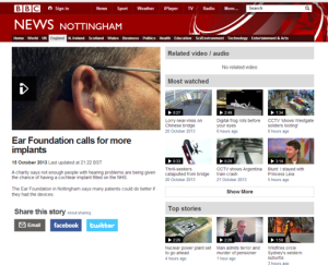 BBC Nottingham 15 October 2013 The Ear Foundation