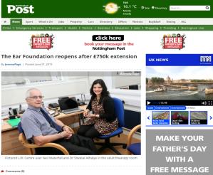 Nottingham Post 2 June 2015 The Ear Foundation